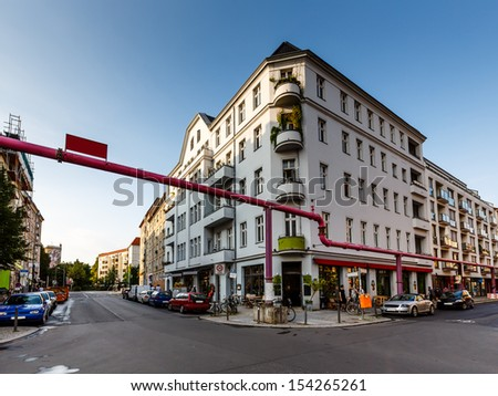 Street and Crossroads in the Center of Berlin, Germany - stock photo