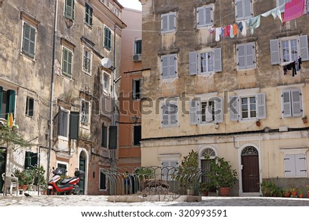 street and old buildings Corfu town Grecce - stock photo