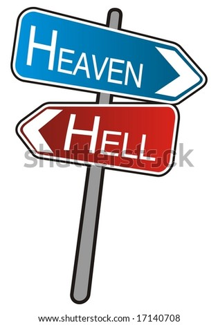 Street arrows sign, Heaven - Hell, illustration on white background - stock photo