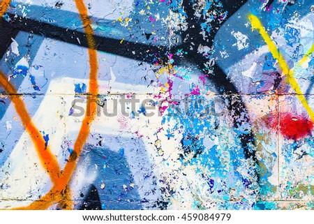 Street art graffiti. Closeup painted wall of the city. - stock photo