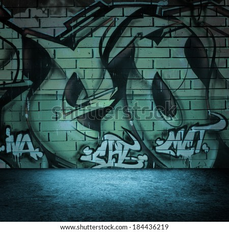 Street art graffiti wall background, urban grunge design. - stock photo