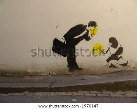 Street art in Bergen, Norway - stock photo