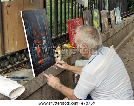 street artist - stock photo