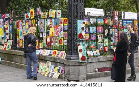 Street artists in New Orleans French Quarter - NEW ORLEANS, LOUISIANA - APRIL 18, 2016  - stock photo