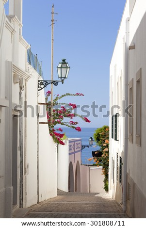 Street at old town in Albufeira, Algarve Portugal - stock photo