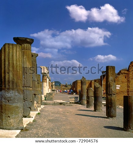 Street at the ancient Roman city of Pompeii, which was destroyed and buried during the eruption of Mount Vesuvius in 79 AD, Italy, UNESCO World Heritage Site - stock photo