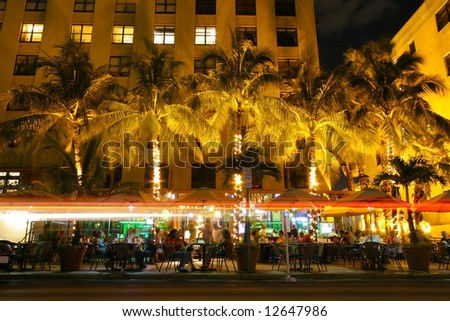 Street bar at night - stock photo