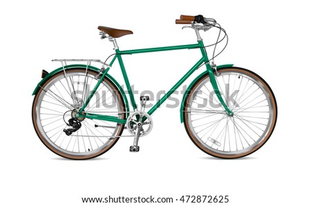 Street bicycle with green frame.  Clipping path included.