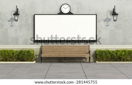 Street billboard with clock on wall, wooden bench,hedges and lanterns - 3D Rendering - stock photo