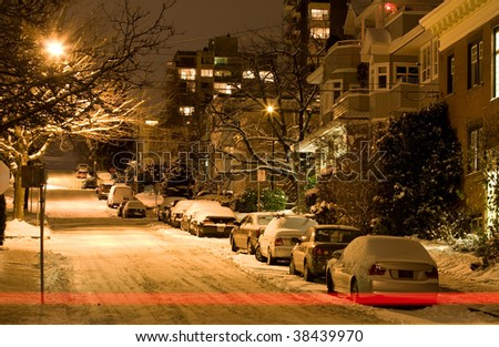 Street Blanketed in Snow - stock photo