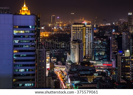 Street, building and city in the night view. - stock photo