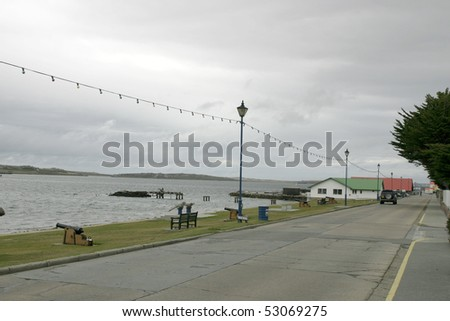 Street by the sea in Port Stanley, Falkland Islands - stock photo