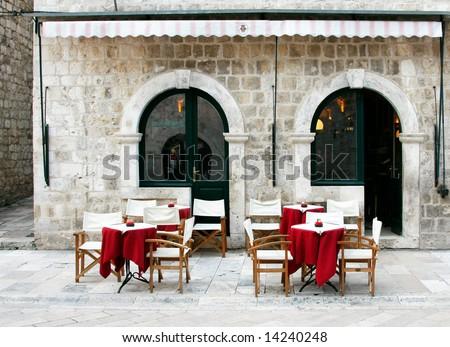 Street cafe in old town (Dubrovnik, Croatia) - stock photo