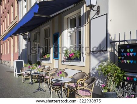 Street cafe in Potsdam, Germany - stock photo