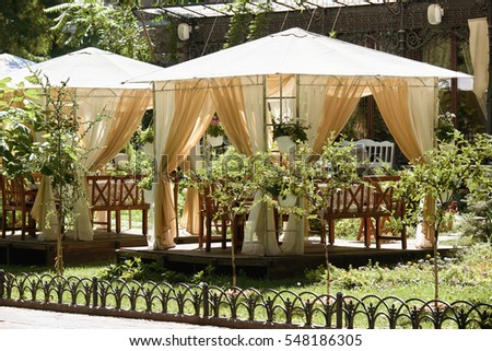 street cafe interior in green city park, ornate with flowers, summer season, bright sunny day, brown toned