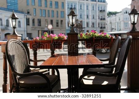 Street cafe on in Kiev - stock photo