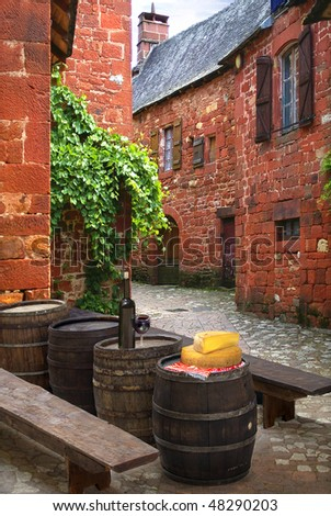 Street cafe on the background of the old house - stock photo