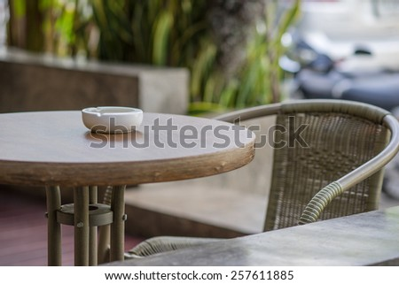 Street cafes are in the waiting customers. - stock photo