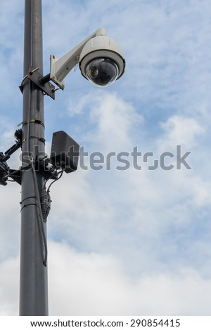 Street CCTV with the sky background