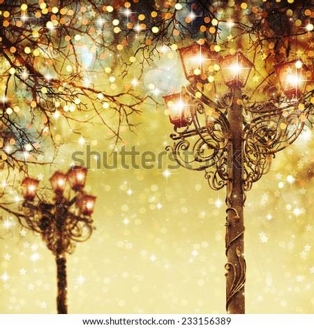 Street Christmas lights on background.  - stock photo