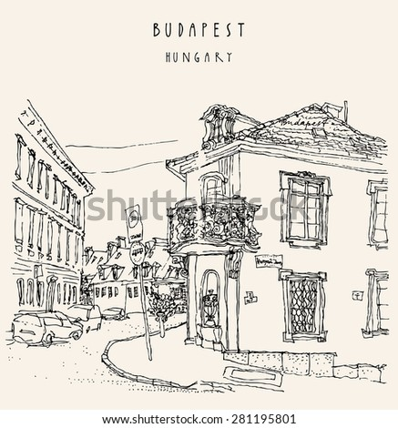 Street corner in Budapest city, Hungary. Monochrome hand drawing travel sketch with title hand lettering. Postcard greeting card design template.