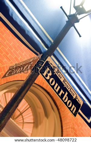 Street corner of Bourbon and Conti in the French Quarter, New Orleans - stock photo