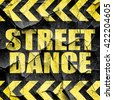 street dance, black and yellow rough hazard stripes - stock vector