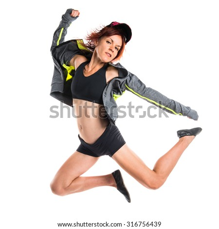 Street dance girl dancer - stock photo