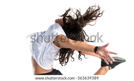 Street dance woman jumping - stock photo