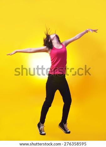 street dancer dancing hip hop modern dance - stock photo
