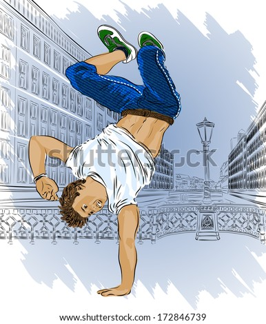Street dancer on city abstract background. Raster version  - stock photo