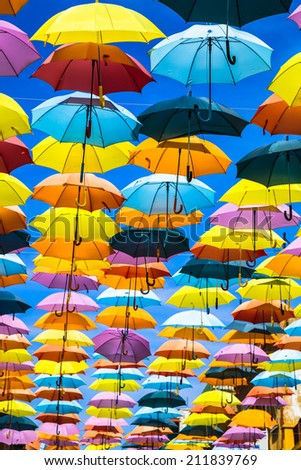 Street decorated with colored umbrellas,Madrid - stock photo