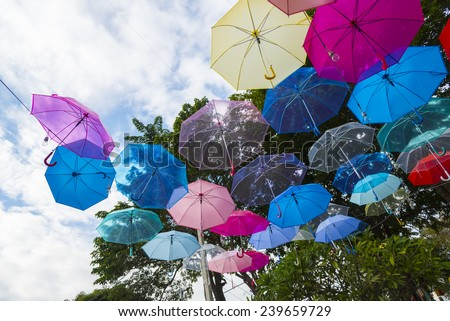 Street decorated with colored umbrellas.Madrid,Ge tafe, Spain - stock photo