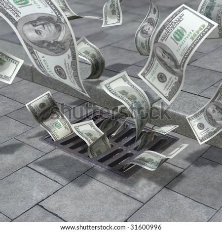 Street drain aspirate the money - stock photo