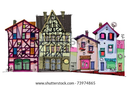 street - facades of old houses - stock photo