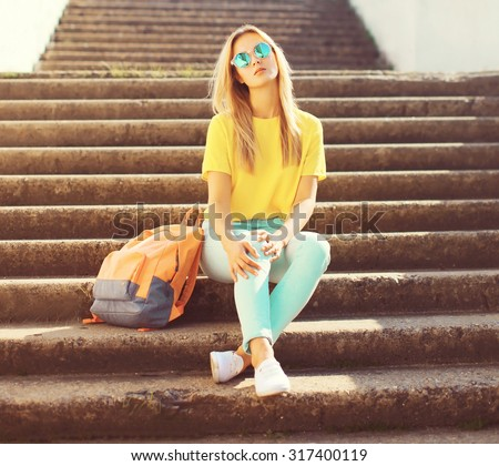 Street fashion, pretty stylish cool girl in the city - stock photo