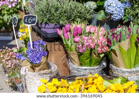 Street flower market in London