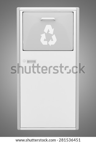 street garbage bin isolated on gray background - stock photo