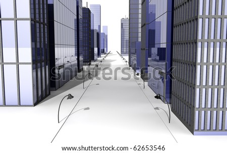 Street in a big city with skyscrapers