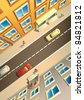 Street in a city, view from above, houses, people and cars, raster from vector illustration - stock