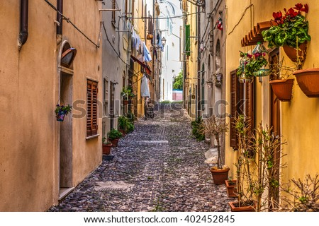 street in Alghero old town, Italy - stock photo