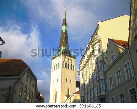 Street in an old city. Tallinn, Estonia  - stock photo