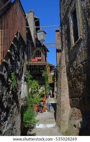 Street in Calcata, ancient Village in Italy