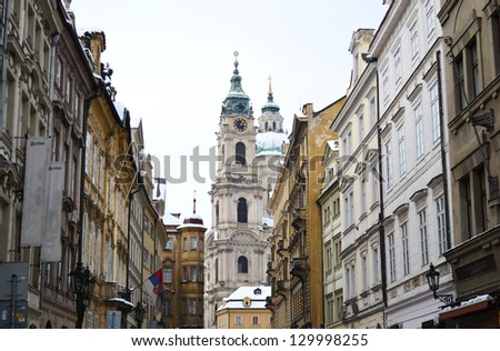 Street in center of Prague at winter, Czech Republic.