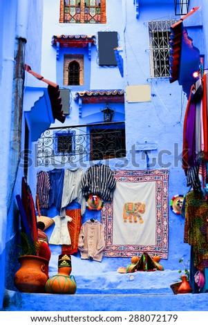 Street in Chefchaouen Medina, Morocco - stock photo