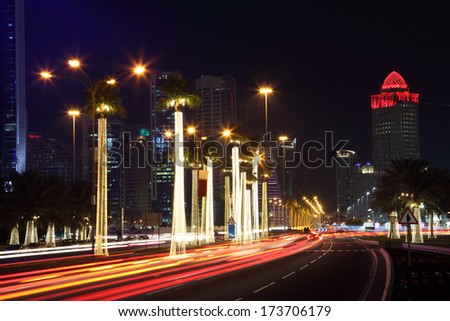 Street in Doha at night. Qatar, Middle East - stock photo