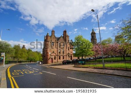 street in Edinburgh on 16 May in scotland  - stock photo