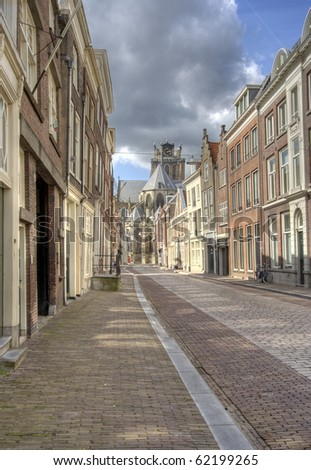 Street in historic centre of Dordrecht, Holland