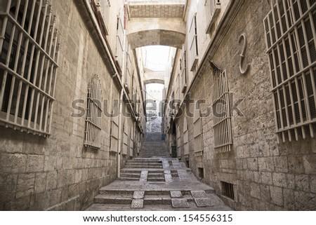 street in jerusalem old town in israel - stock photo