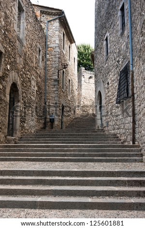 Street in Jewish Quarter in Girona, Catalonia, Spain